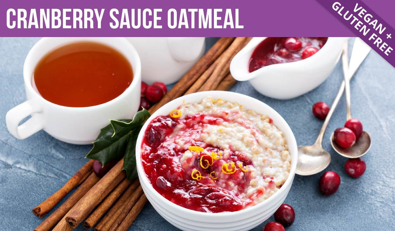 Cranberry Sauce Oatmeal, Vegan and Gluten Free