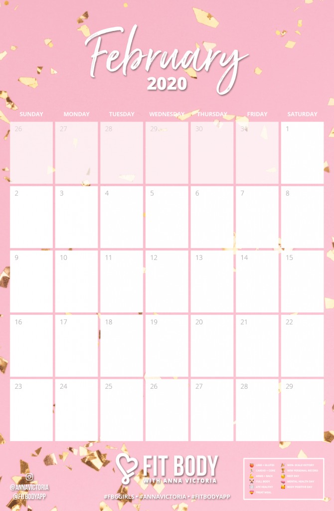 Fit Body App with Anna Victoria February 2020 Downloadable Calendar